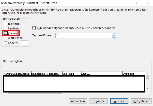 Import von CSV Dateien in Microsoft Excel