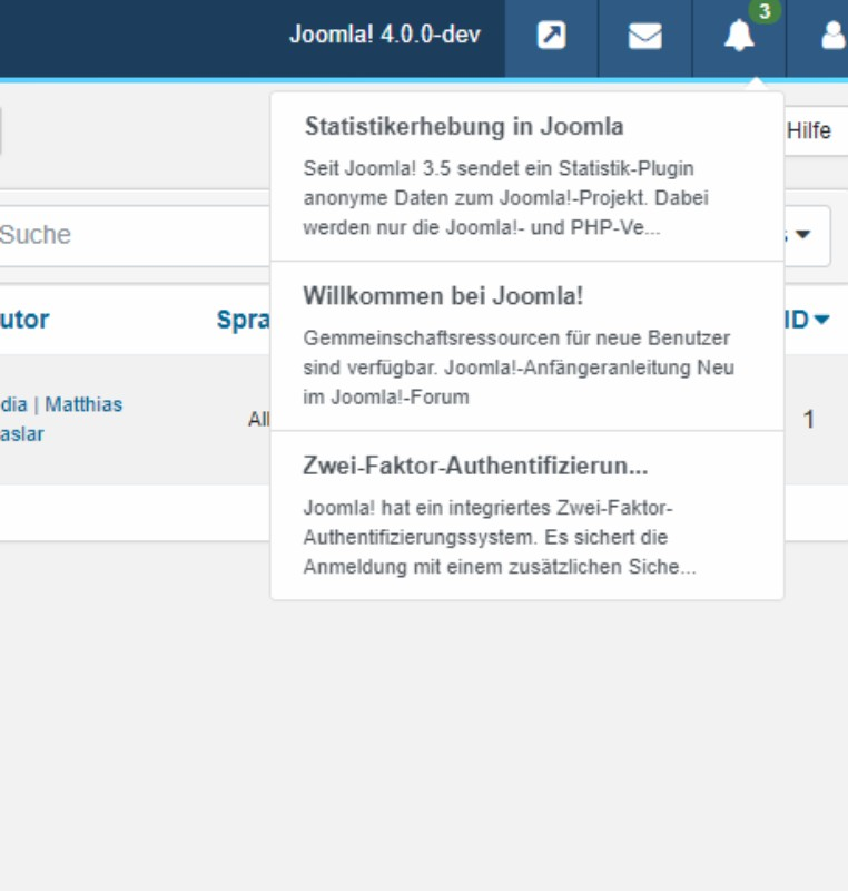 joomla 4 notification box